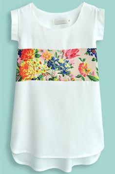 White Short Sleeve Contrast Floral Chiffon Blouse - Sheinside.com