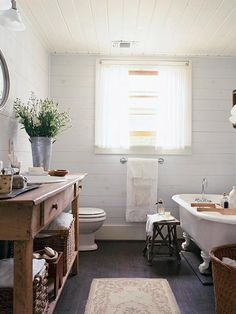 Vintage Charm - architectual salvage yards are great suppliers of vintage tubs, sinks, countertops, flooring, benches and unique accents