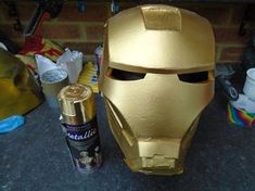 Picture of Gold Paint, Weathering and Clear Coat Spray Paint Cans, Acrylic Spray Paint, Gold Spray Paint, Red Paint, Iron Man Helmet, Painters Tape, Foam Crafts, Masking Tape, Ideas