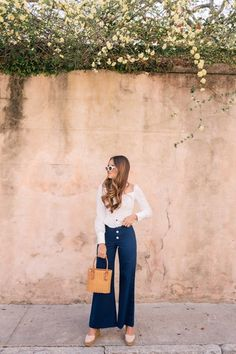 Gal Meets Glam Navy Wide Leg Cropped Pants | Lioness top, Staud pants, Castaner wedges, Raen sunglasses #shopthelook #SpringStyle