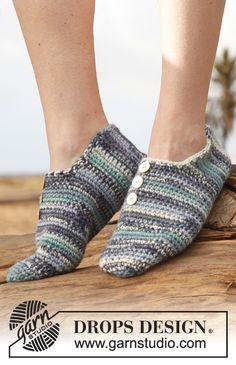 Crochet DROPS slippers in Big Fabel. Size 35 - 43. ~ DROPS Design
