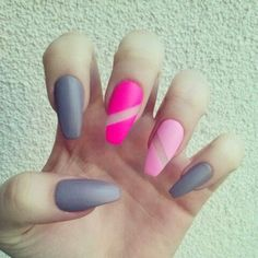 Pink and gray coffin matte nails