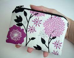 Fuchsia Floral Zipper pouch Little Padded Coin Purse Gadget Case by JPATPURSES, $9.00