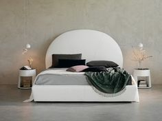 Leather double bed with upholstered headboard BJORN - Cattelan Italia