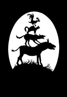 "Papercut series Grimm's Fairy Tales: ""Town Musicians of Bremen"" (AstridJaekel - Etsy)"