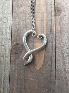 Spoon jewelry silverware jewelry heart pendant fork