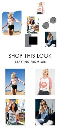 """""""Vintage Tees"""" by goto-hoodie ❤ liked on Polyvore featuring Junk Food Clothing, Ray-Ban, vintage, summerstyle and rocknroll"""