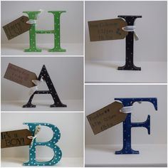 Gorgeous freestanding letters - hearts, spots and stars available in any colour you like.