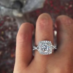 Gorgeous, typically prefer round, but this cushion cut with a double halo is beautiful. Verragio double halo with infinity band