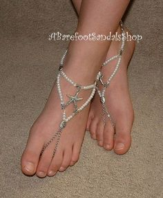 Round pearls sandals jewelry for barefoot bride wedding bridesmaids beach  weddings water vacation cruise shoes with silver starfish charms 68a99a8d0b8f