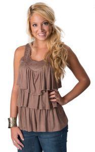 Panhandle Slim® Women's Brown Studded Ruffle Sleeveless Fashion Tank Top | Cavender's