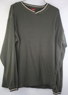 UnionBay Men's Medium Long Sleeve Slight V-Neck Pull Over Olive Green #UNIONBAY #VNeck