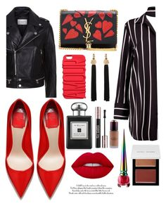 """""""Black and Red"""" by callyfordham ❤ liked on Polyvore featuring Boohoo, Yves Saint Laurent, Sandro, Jo Malone, Kevyn Aucoin, Christian Louboutin and Bobbi Brown Cosmetics"""