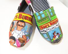 Bob's Burgers Shoes Toms Slip ons Flats Bob Linda by CaseOfCuties Bob And Tom, Belcher Family, Tina Belcher, Bob S, Bobs Burgers, My Spirit Animal, Painted Shoes, Black Canvas, Custom Shoes