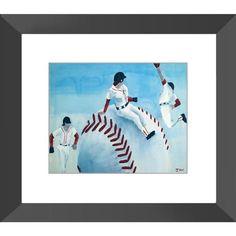 Red Sox - Framed Print of Baseball Poster Paint Fine Art - The Unfolding Butterfly