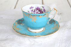 Tea Set, Vintage English Fine Bone China by Aynsley, Teacup and Saucer, Aqua, Turquoise, Gifts or Her, Wedding Gift by MariasFarmhouse on Etsy