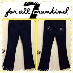 """HOST PICK 9/77 For All Mankind Jeans Blue. A Pocket. 5 pockets. Boot cut. 98% cotton 2% spandex. Inseam 31.5""""  Size 26. 7 for all Mankind Jeans Boot Cut"""