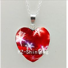New Christmas Snowflakes Heart Necklace White Snowflakes Jewelry Murano Glass Heart Necklace HZ3-in Pendant Necklaces from Jewelry & Accessories on Aliexpress.com | Alibaba Group