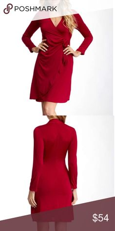 Gorgeous burgundy red wrap dress NWOT Perfect midi length dress. Nice knit. Perfect for work, dates and events. No trades. This is very soft. What I like is that the lower dress part ( waist down is stitched) and then, the mock wrap and tie is in top of that. So no flashing cars when you cross the street on a windy day. 😊. Fits me comfortably as a size 12.  Note color is more of a burgundy than the brightest red in stick photo. 24/7 Comfort Apparel Dresses Midi