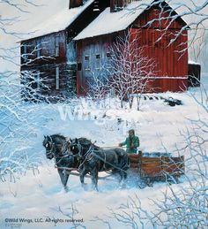 """WINTER DELIVERY by Chris Cummings. """"Farmers used sleighs in winter to deliver their cream or whole milk to the creamer. In 'Winter Delivery,' I wanted to portray the farmer and his team as he headed towards his farm, framed by the snow-covered branches and flecked with snow."""""""