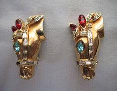 Rare Coro Race Horse Duette Earrings ~ 1940s di LesFakesdAntan su Etsy