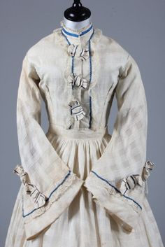 Printed cotton day dress and trellis-weave muslin gown, late 1850s-early 1860s | In the Swan's Shadow