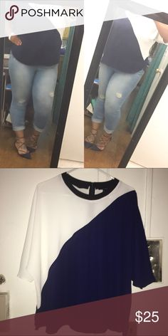 Beautiful Color Block Primark U.K Dress Top ✅ASK 4 BUNDLE DISCOUNTNO LOWESTNO TRADES. Paid 30£. DISCLAIMER: Size says 16 USA, but it is actually a 2X. I am a solid 2X & as you can see this fits fine with room to move around. Runs true to size, stretchable material,flows in front to conceal stomach, sleeve is elbow length (hide bat wings). Should definitely be dressed up. Questions welcomed. Primark UK Tops Blouses