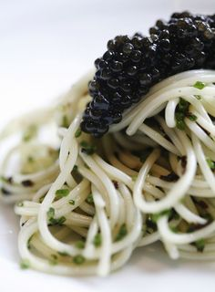 Stunning cold angel hair pasta with caviar from Gunther's Modern French Cuisine