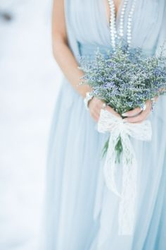 Whimsical and romantic powder blue bridemaid