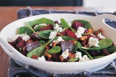Beetroot, walnut, goats cheese, baby spinach salad