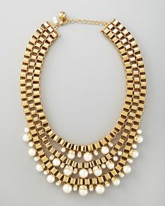 faux-pearl multi-strand chain necklace by kate spade new york at Neiman Marcus.