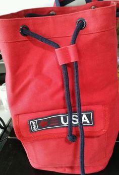 BMW-Backpack-Style-Drawstring-Shoulder-Bag-Travel-Red-blue-straps-Canvas-13