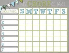 Mrs. This and That: Free chore chart printable...would be cute to put in a frame or laminate for multiple uses