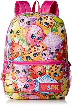 Shopkins Girls' Print Backpack, Multi: This backpack features ann all over print of the Shopkins characters. Front pocket and two side mesh pockets provide extra storage. Shoulder straps and back are padded for comfort. Small Backpacks For Girls, Cute Backpacks For School, Boys Backpacks, Shopkins School, Shopkins Girls, Shopkins Characters, Cookie Swirl C, Backpack Essentials, Girls Accessories