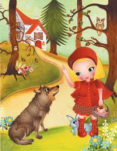 """Roodkapje komt in het bos en ziet opeens de boze wolf achter een boom zitten. Ze loopt naar hem toe en zegt: """"Wolf wat heb je kleine oogjes."""