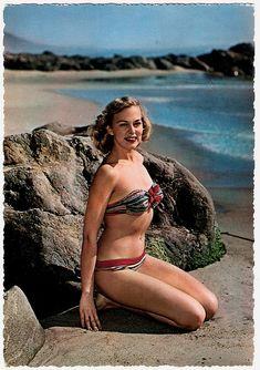 """The bathing beauty of the blue lagoon."" #vintage #beach #summer #swimsuit #model #1950s #bikini"