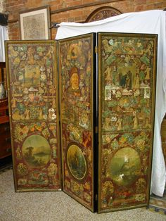 Gorgeous old Decoupaged screen for sale