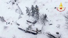 The avalanche smashed into the Hotel Rigopiano near the Italian village of Farindola: This handout image obtained on the Vigili del Fuoco twitter account on January 19, 2017 shows an aerial view of the Hotel Rigopiano, near the village of Farindola, on the eastern lower slopes of the Gran Sasso mountain, engulfed by a powerful avalanche.Up to 30 people were feared to have died after an Italian mountain Hotel Rigopiano was engulfed by a powerful avalanche in the earthquake-ravaged centre of…