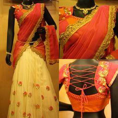 Beautiful cream color net lehenga embellished with sequins and bead work, red color chanderi duppatta with gold border, designer red and orange combination blouse with deep back neck pattern and criss cross threads on the back