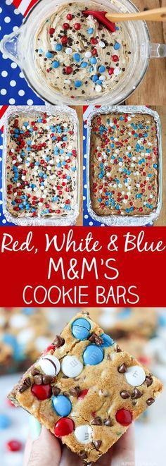 Red White & Bluish M&M's Cookie Bars