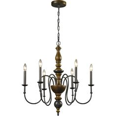 Showcasing a dramatic candelabra design and vintage rust finish, this eye-catching 6-light chandelier casts a warm glow over the foyer or dining table.