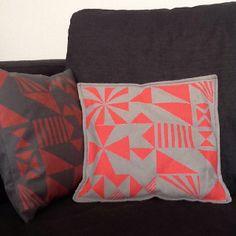 Hand screen printed cushion