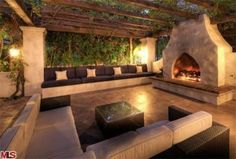 Outdoor Party Room.  Suggest we have seating on 3 sides. note: cool rustic timber pergola.