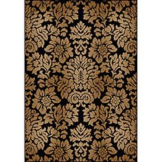 Amalfi Black/Beige Damask Area Rug (5'5 x 7'7) - Overstock™ Shopping - Great Deals on 5x8 - 6x9 Rugs