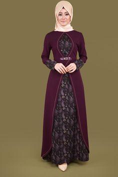 Şal Desen Tesettür Elbise Mürdüm Ürün Kodu: MSW8171 --> 109.90 TL