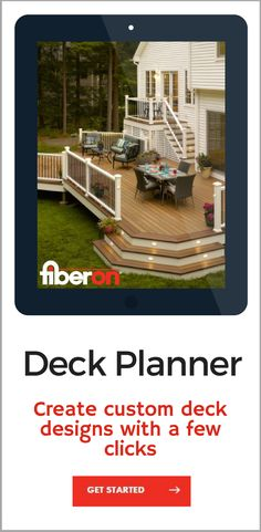 "The deck planning tool is a fast, fun, and free way to see your favorite Fiberon composite and PVC decking, railing, and cladding products in a ""real"" outdoor setting. You can even customize the home's exterior and trim color. Mix and match your deck boards and colors, add some railing, and instantly see the finished product. When you're done, share it with family and friends via social media."