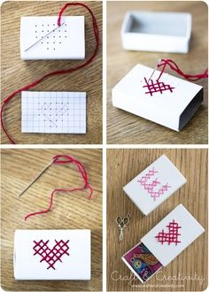 DIY cross-stitched matchbox for small Valentines gifts Fun Crafts, Diy And Crafts, Crafts For Kids, Arts And Crafts, Matchbox Crafts, Matchbox Art, Diy Projects To Try, Craft Projects, Ideias Diy