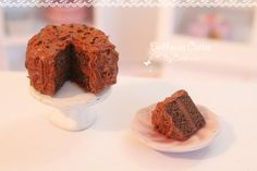 Dollhouse miniature food -  Rich and creamy chocolate cake (1/12 scale).