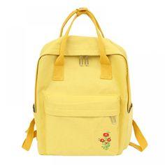Backpack Women Korean Canvas Backpack School Bags For Teenage Girls Fashion Mochila Feminina Embroidery Flower Backpack – Embroidery 2020 Rucksack Backpack, Canvas Backpack, Flower Embroidery Designs, Flower Canvas, Cool Backpacks, Laptop Bag, School Bags, Fashion Backpack, Back To School