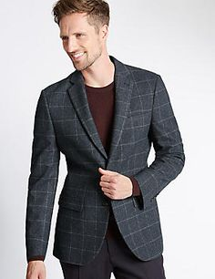 Single Breasted 2 Button Checked Jacket